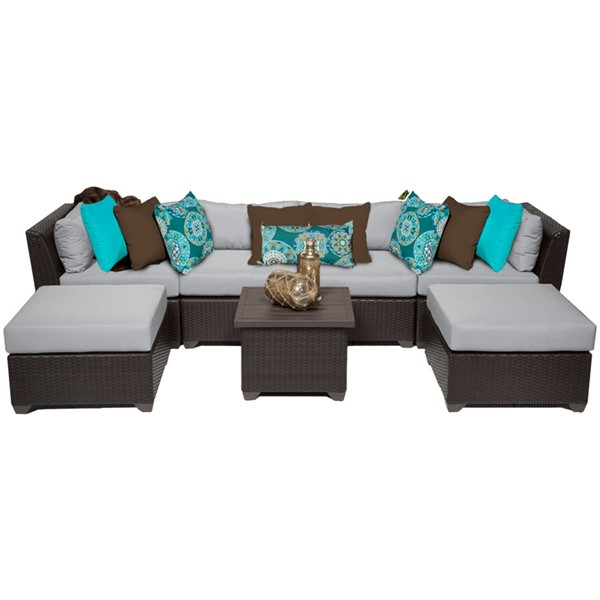 Home Roots Grey Outdoor Wicker Patio Modern 7pc Furniture Set (07A) OCN-259348