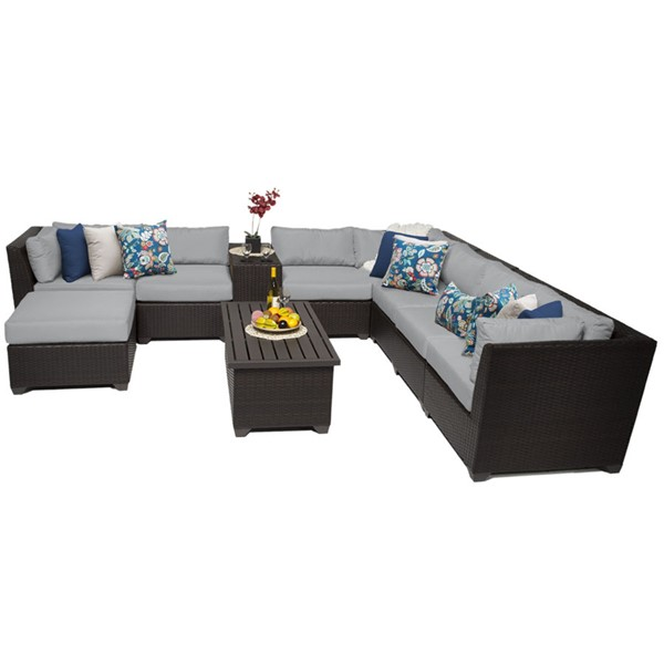 Home Roots Grey Espresso Wicker 10pc Outdoor Sectional (10B) OCN-259372