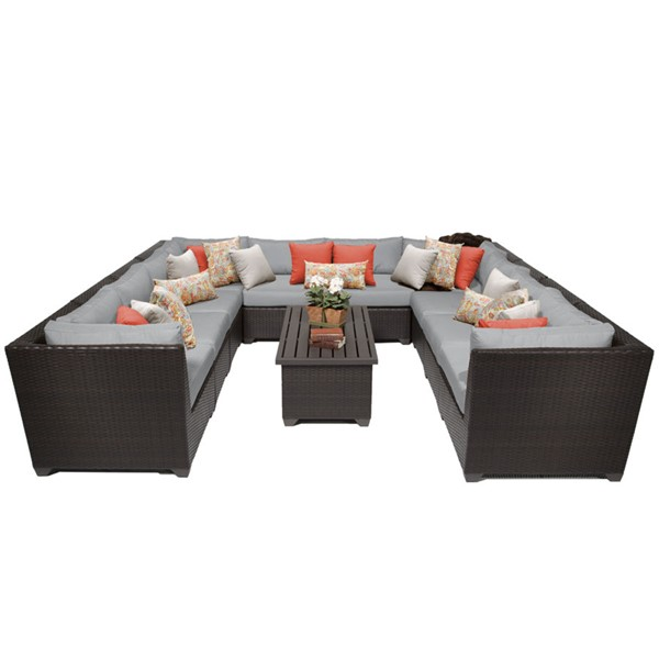 Home Roots Grey Espresso Wicker 11pc Outdoor Sectional (11A) OCN-259376