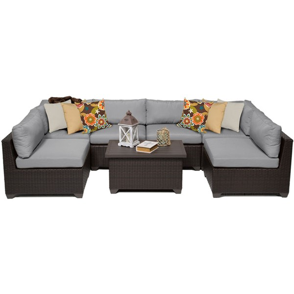 Home Roots Belle Grey Outdoor Wicker Patio 7pc Furniture Set (07A) OCN-259422