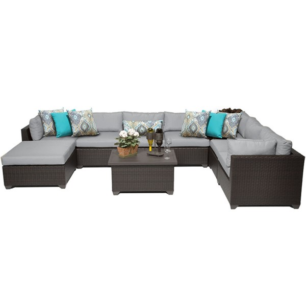 Home Roots Belle Grey Outdoor Wicker Patio 9pc Furniture Set (09B) OCN-259434