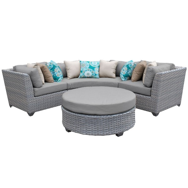 Home Roots Florence Grey Outdoor Wicker Patio 4pc Furniture Set (04A) OCN-259535