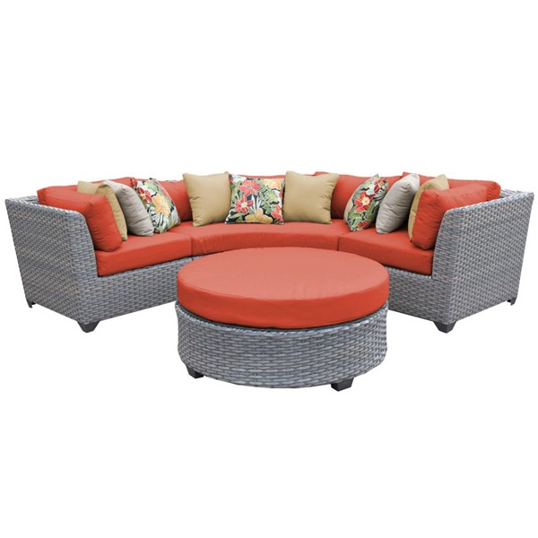 Home Roots Florence Tangerine Outdoor Wicker Patio 4pc Furniture Set (04A) OCN-259537