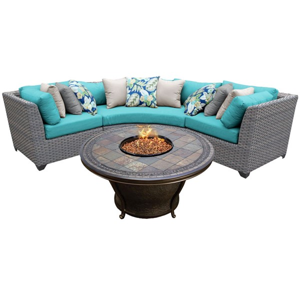 HomeRoots Florence Grey Stone Wicker 4pc Outdoor Sectionals (04D) OCN-25955-OUT-SEC-VAR