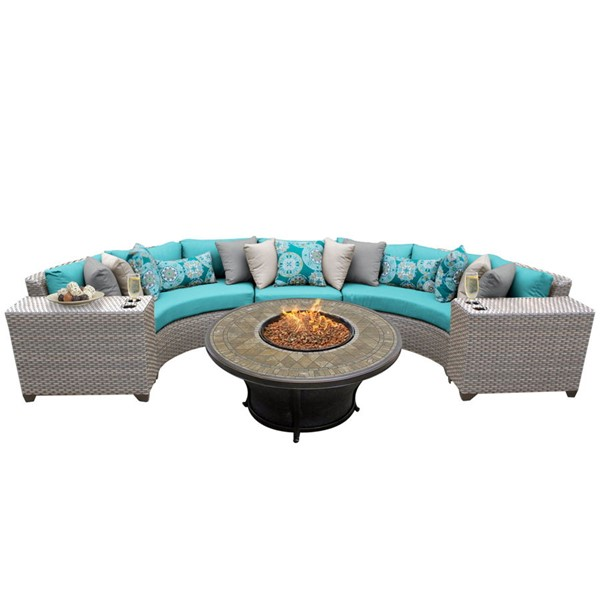 HomeRoots Florence Grey Stone Wicker 6pc Outdoor Sectionals (06A) OCN-25956-OUT-SEC-VAR