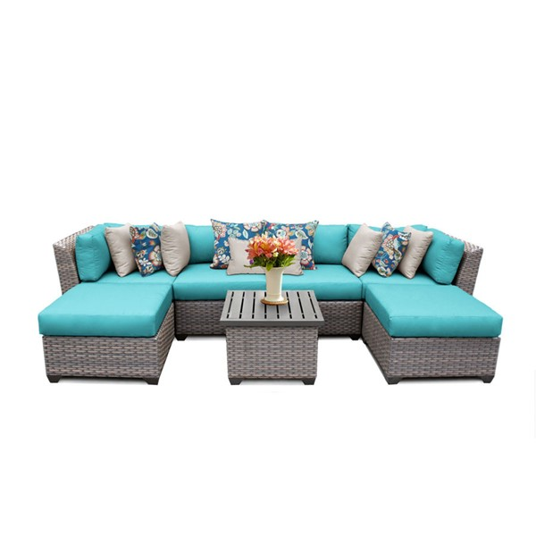 Home Roots Florence Aruba Outdoor Wicker Patio 7pc Furniture Set (07A) OCN-259611