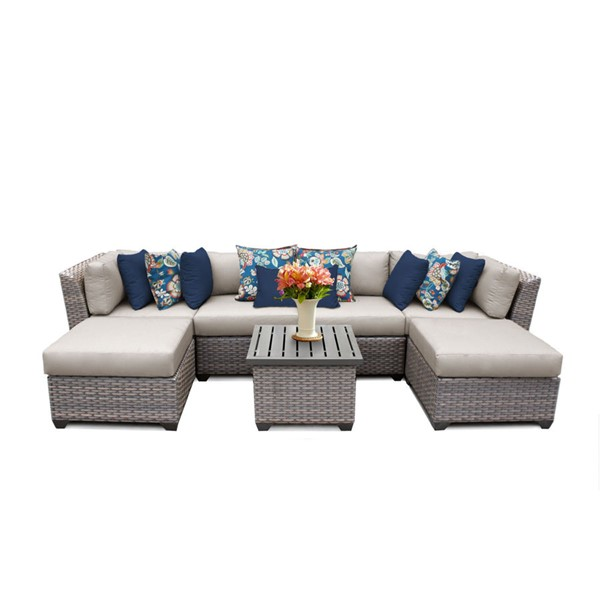 Home Roots Florence Beige Outdoor Wicker Patio 7pc Furniture Set (07A) OCN-259612