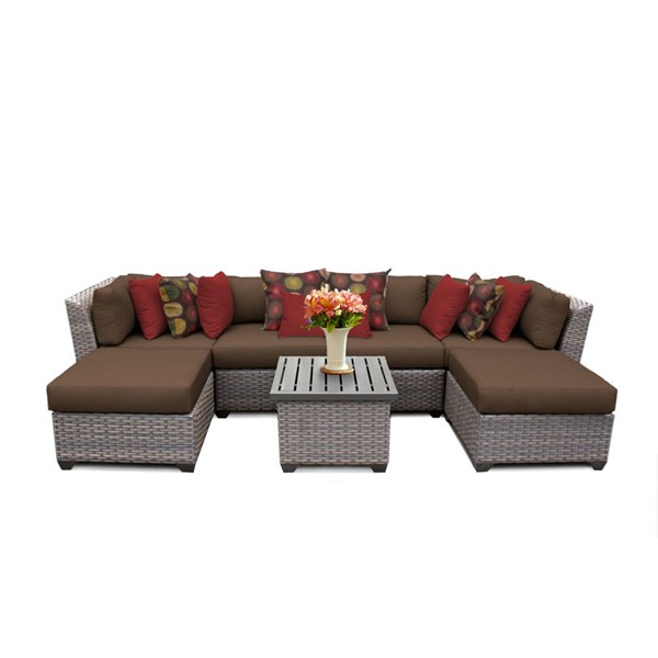 Home Roots Florence Cocoa Outdoor Wicker Patio 7pc Furniture Set (07A) OCN-259614