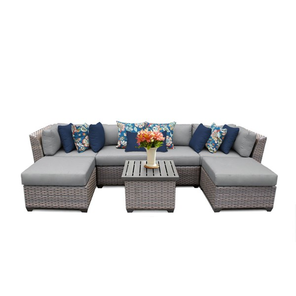 Home Roots Florence Grey Outdoor Wicker Patio 7pc Furniture Set (07A) OCN-259615
