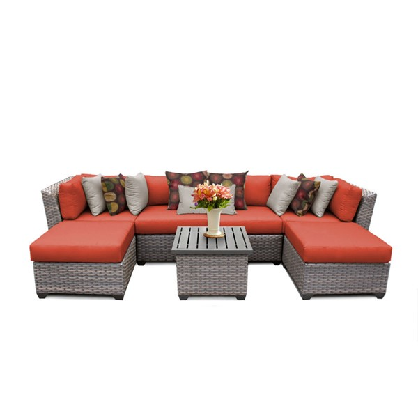 Home Roots Florence Tangerine Outdoor Wicker Patio 7pc Furniture Set (07A) OCN-259617