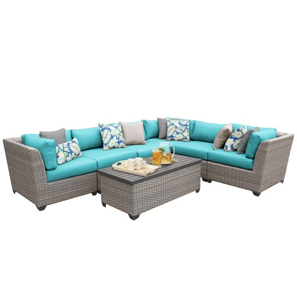 Home Roots Florence Aruba Outdoor Wicker Patio 7pc Furniture Set (07B) OCN-259621