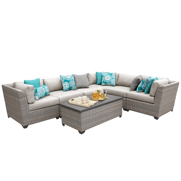 Home Roots Florence Beige Outdoor Wicker Patio 7pc Furniture Set (07B) OCN-259622
