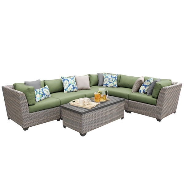 Home Roots Florence Cilantro Outdoor Wicker Patio 7pc Furniture Set (07B) OCN-259623