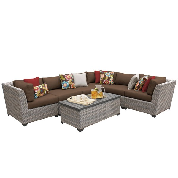 HomeRoots Florence Cocoa Outdoor Wicker Patio 7pc Furniture Set (07B) OCN-259624