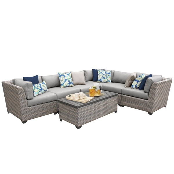 Home Roots Florence Grey Outdoor Wicker Patio Modern 7pc Furniture Set (07B) OCN-259625
