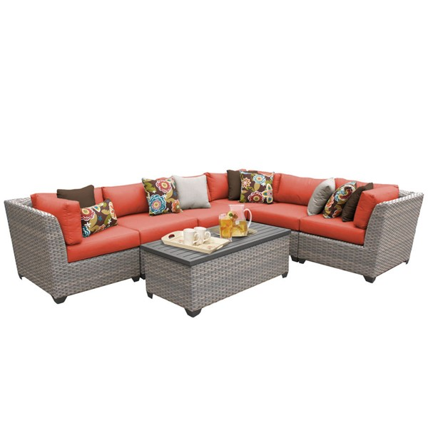 Home Roots Florence Tangerine Outdoor Wicker Patio 7pc Furniture Set (07B) OCN-259627