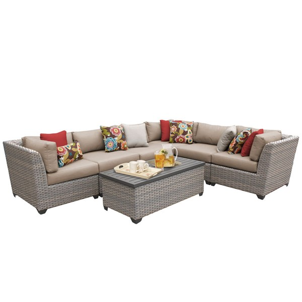 Home Roots Florence Wheat Outdoor Wicker Patio 7pc Furniture Set (07B) OCN-259629