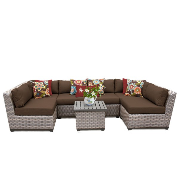 HomeRoots Florence Cocoa Outdoor Wicker Patio 7pc Furniture Set (07C) OCN-259634