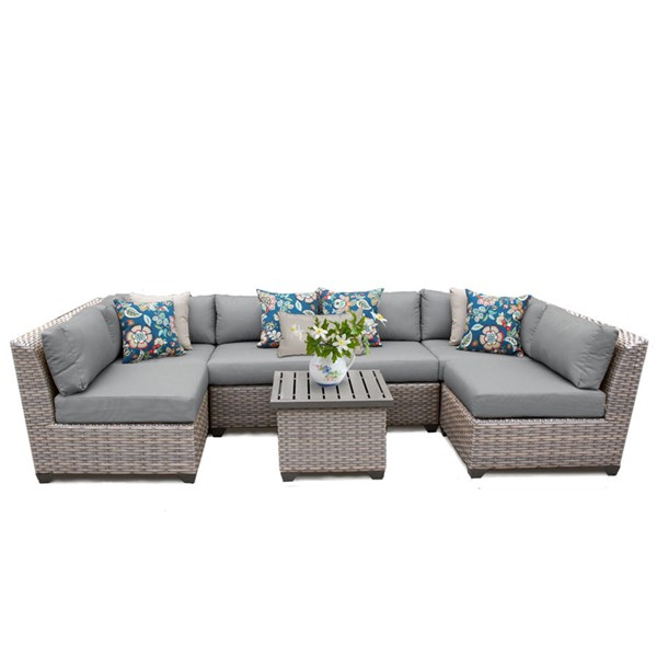 Home Roots Florence Grey Outdoor Wicker Patio 7pc Furniture Set (07C) OCN-259635