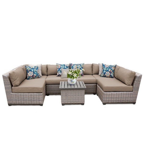 HomeRoots Florence Wheat Outdoor Wicker Patio 7pc Furniture Set (07C) OCN-259639