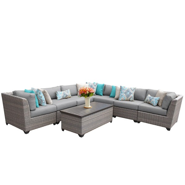 Home Roots Florence Grey Outdoor Wicker Patio 8pc Furniture Set (08A) OCN-259650