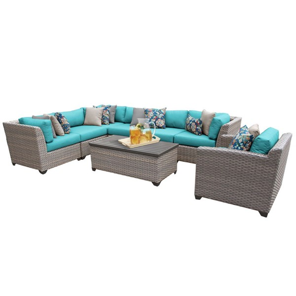HomeRoots Florence Grey Stone Wicker 8pc Outdoor Sectionals (08D) OCN-25968-OUT-SEC-VAR
