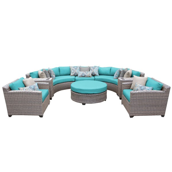 HomeRoots Florence Grey Stone Wicker 8pc Outdoor Seating Sets (08E) OCN-25969-OUT-SS-VAR