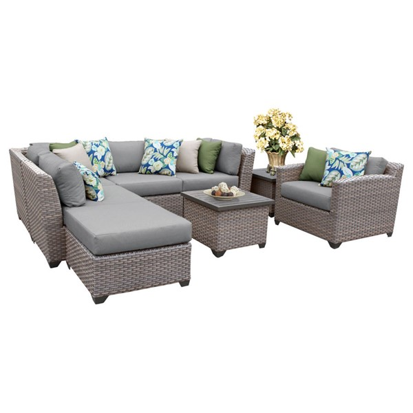 Home Roots Florence Grey Outdoor Wicker Patio 8pc Furniture Set (08G) OCN-259710