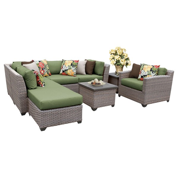 Home Roots Florence Cilantro Outdoor Wicker Patio 8pc Furniture Set (08G) OCN-259713