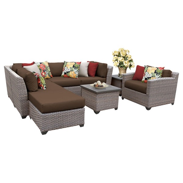 Home Roots Florence Cocoa Outdoor Wicker Patio 8pc Furniture Set (08G) OCN-259714