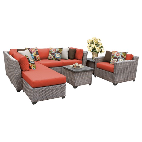 Home Roots Florence Tangerine Outdoor Wicker Patio 8pc Furniture Set (08G) OCN-259717