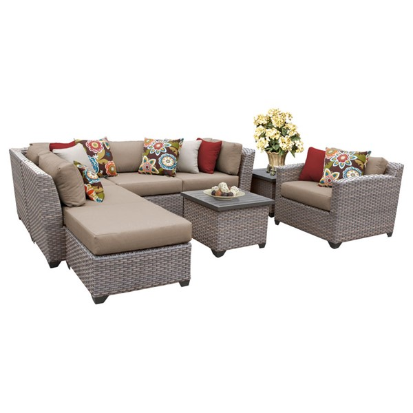 HomeRoots Florence Wheat Outdoor Wicker Patio 8pc Furniture Set (08G) OCN-259719