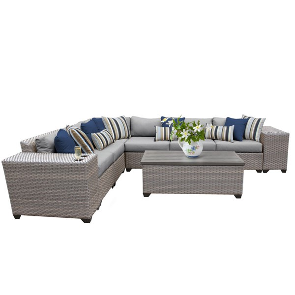 HomeRoots Florence Grey Outdoor Wicker Patio 9pc Furniture Set (09B) OCN-259720