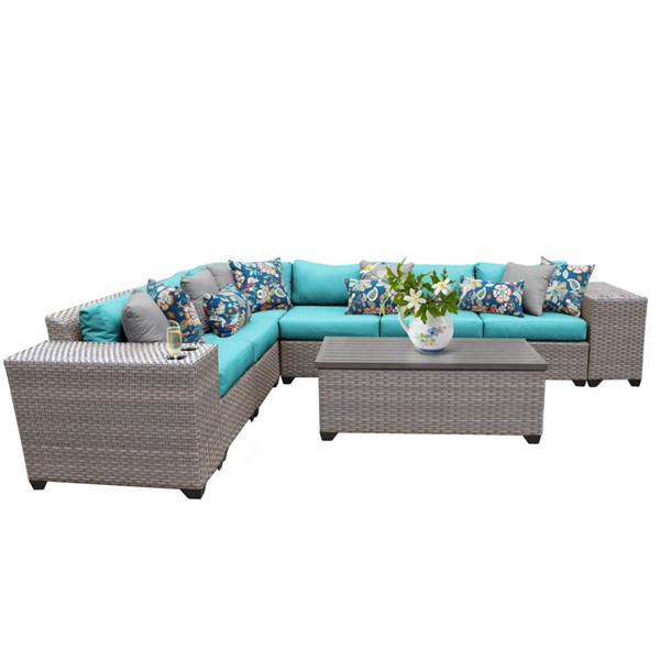 HomeRoots Florence Grey Stone Wicker 9pc Outdoor Sectionals (09B) OCN-25972-OUT-SEC-VAR