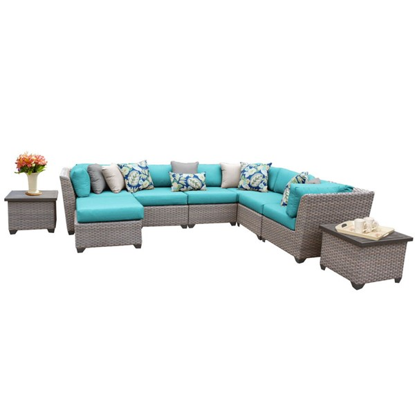 Home Roots Florence Aruba Grey Stone Wicker 9pc Outdoor Sectional (09C) OCN-259731