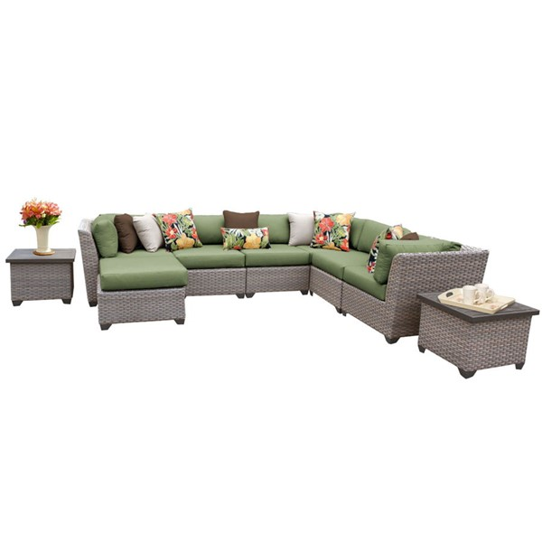 HomeRoots Florence Cilantro Grey Stone Wicker 9pc Outdoor Sectional (09C) OCN-259733
