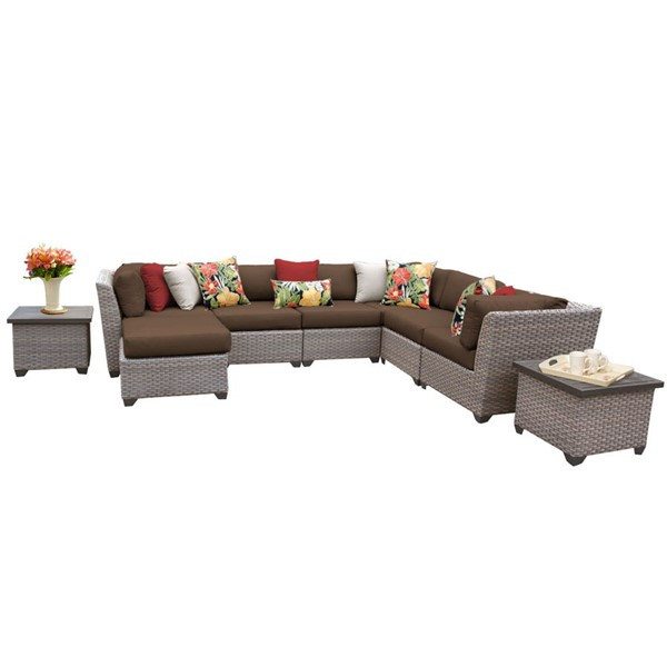 Home Roots Florence Cocoa Grey Stone Wicker 9pc Outdoor Sectional (09C) OCN-259734