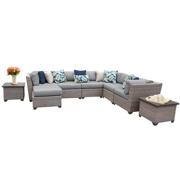 HomeRoots Florence Grey Stone Wicker 9pc Outdoor Sectional (09C) OCN-259735