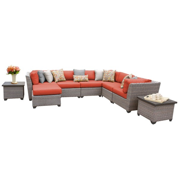 Home Roots Florence Tangerine Grey Stone Wicker 9pc Outdoor Sectional (09C) OCN-259737