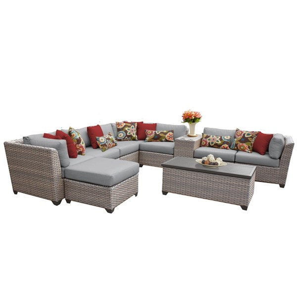 Home Roots Florence Stone Grey Wicker 10pc Outdoor Sectional (10B) OCN-259750