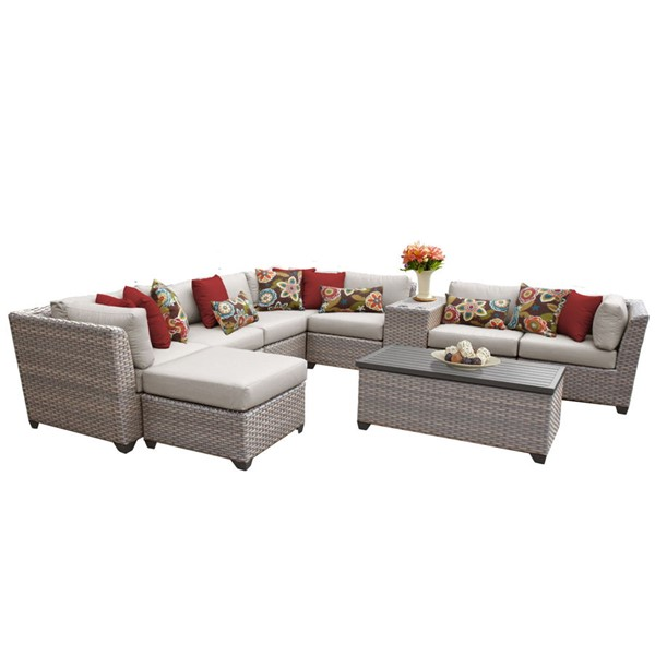 Home Roots Florence Beige Grey Stone Wicker 10pc Outdoor Sectional (10B) OCN-259752