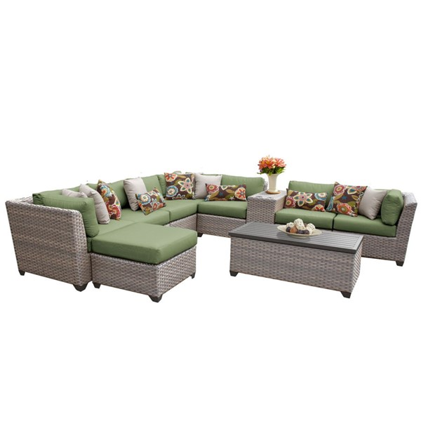 HomeRoots Florence Cilantro Grey Stone Wicker 10pc Outdoor Sectional (10B) OCN-259753