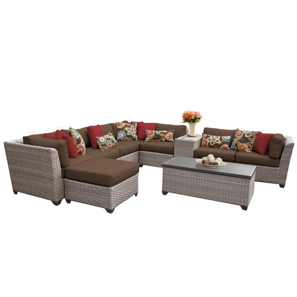 Home Roots Florence Cocoa Grey Stone Wicker 10pc Outdoor Sectional (10B) OCN-259754