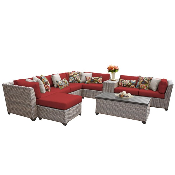 Home Roots Florence Terracotta Grey Stone Wicker 10pc Outdoor Sectional (10B) OCN-259758
