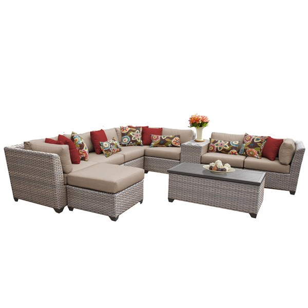 HomeRoots Florence Wheat Grey Stone Wicker 10pc Outdoor Sectional (10B) OCN-259759