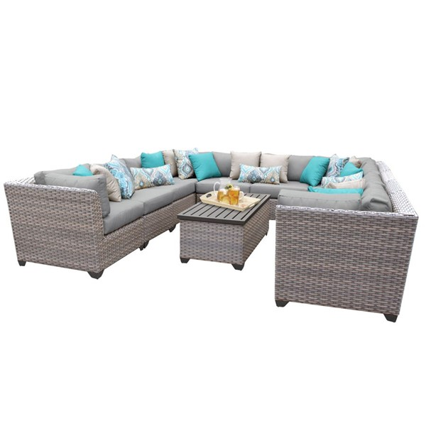 HomeRoots Florence Stone Grey Wicker 11pc Outdoor Sectional (11A) OCN-259760