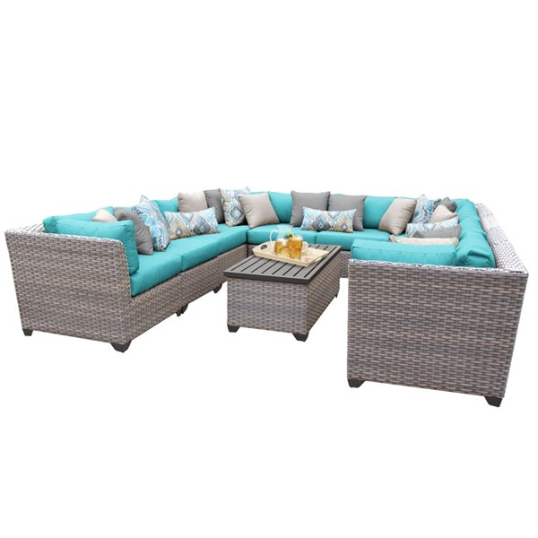 HomeRoots Florence Grey Stone Wicker 11pc Outdoor Sectionals (11A) OCN-25976-OUT-SEC-VAR