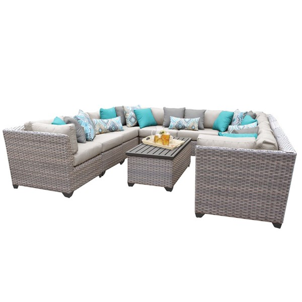 Home Roots Florence Beige Grey Stone Wicker 11pc Outdoor Sectional (11A) OCN-259762