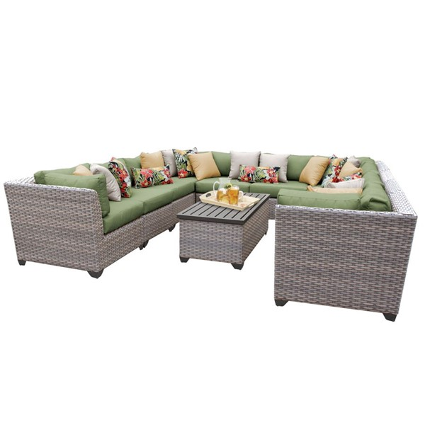 Home Roots Florence Cilantro Grey Stone Wicker 11pc Outdoor Sectional (11A) OCN-259763