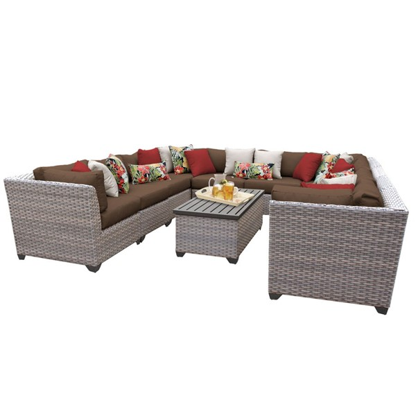 HomeRoots Florence Cocoa Grey Stone Wicker 11pc Outdoor Sectional (11A) OCN-259764